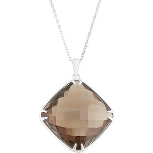Sterling Silver 20mm Square Smoky Quartz Necklace