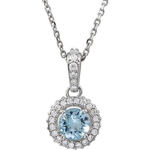 14kt White Gold .45 ct Aquamarine and Diamond 18in Necklace