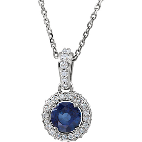14kt White Gold 2/3 ct Blue Sapphire and 1/4 ct Diamond 18in Necklace