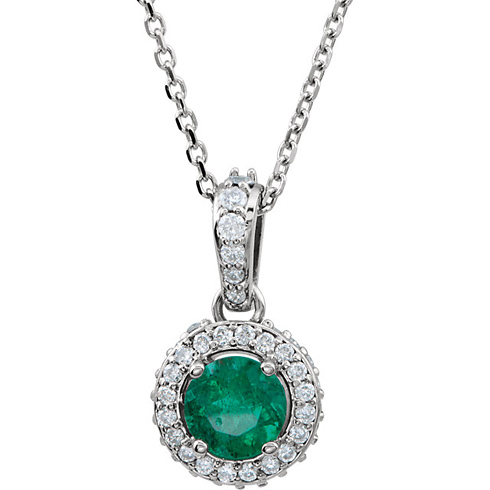 14kt White Gold 1/3 ct Emerald and 1/4 ct Diamond 18in Necklace