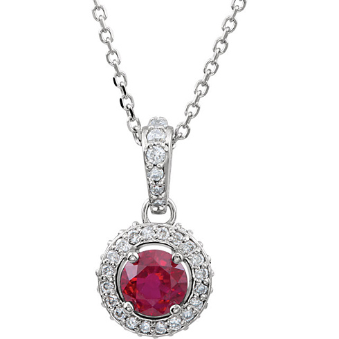 14kt White Gold 1/3 ct Ruby and 1/4 ct Diamond 18in Necklace