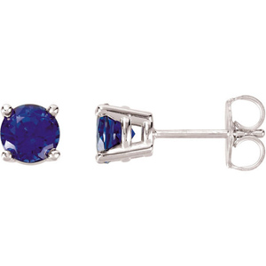 14kt White Gold 1 1/4 Ct Created Blue Sapphire Stud Earrings