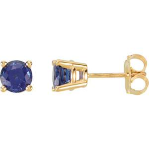 14kt Yellow Gold 1 1/4 Ct Blue Sapphire Stud Earrings