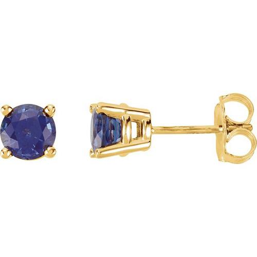 14kt Yellow Gold 1 1/4 Ct Blue Sapphire Stud Earrings