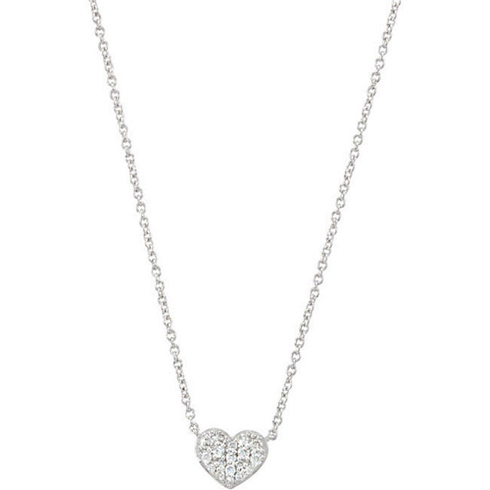14kt White Gold 1/10 ct Diamond Petite Heart 18in Necklace