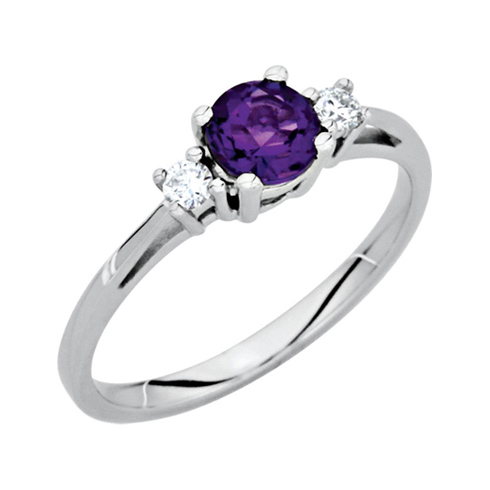 14kt White Gold 1/2 ct Amethyst Ring With Diamond Accents