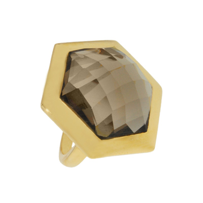 Missoma 18kt Gold Plated Smoky Quartz Hex Cocktail Ring