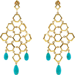 Missoma 18kt Gold Plated Turquoise Chandelier Earrings