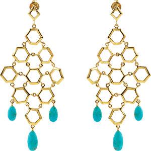 Missoma 18kt Gold Plated Turquoise Chandelier Earrings
