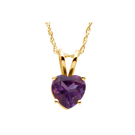 14kt Yellow Gold 2/3 ct Heart Amethyst 18in Necklace