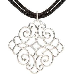 1/10 ct tw Diamond Necklace with Black Cord
