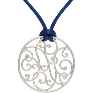 1/10 ct tw Diamond Necklace with Navy Cord