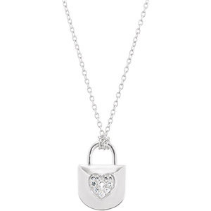 1/10 ct tw Sterling Silver Diamond Lock 18in Necklace