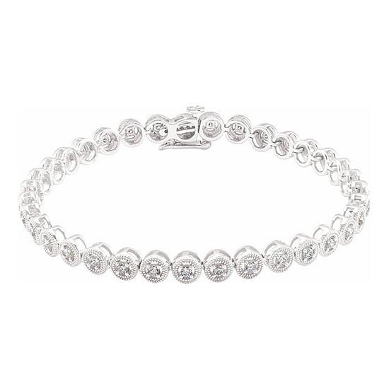 14kt White Gold 1 ct Diamond Beaded Line 7in Bracelet