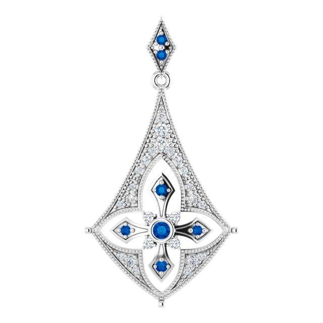 Blue Sapphire and 1/6 Ct Diamond Black Rhodium Plated Pendant