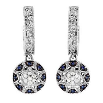 14kt White Gold Blue Sapphire and Diamond Hoop Earrings