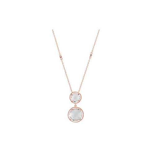 Rose Gold Plated Sterling Silver Quartz 17in Necklace