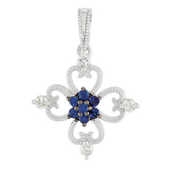 Blue Sapphire and 1/10 Ct Diamond Flower Sterling Silver Pendant