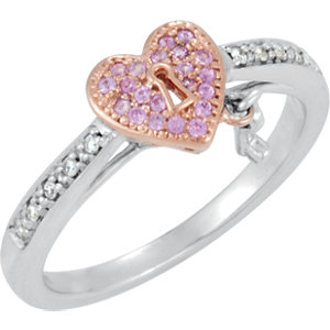 Sterling Silver Pink Sapphire and Diamond Heart Ring