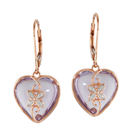 Rose de France and Diamond Heart Earrings