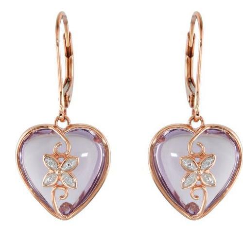 Rose de France and Diamond Heart Earrings