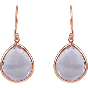 Rose Gold-plated Sterling Silver 16 ct Amethyst Pear Earrings