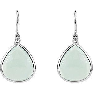 16 ct Aqua Blue Chalcedony Pear Earrings