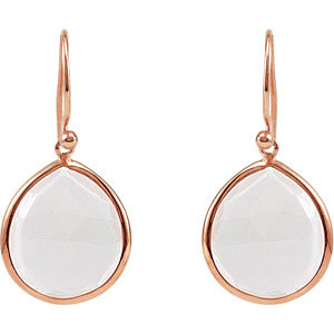 15 ct Rose Quartz Earrings with 14kt Rose Gold Plating