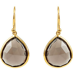 16 ct Smoky Quartz Earrings with 14kt Yellow Gold Plating