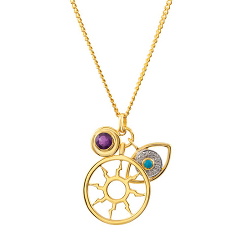 Missoma 18kt Gold Plated Necklace in Amethyst and Turquoise