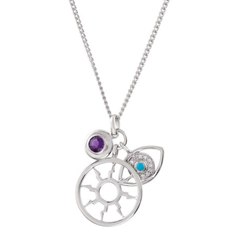 Missoma Sterling Silver Necklace in Amethyst and Turquoise
