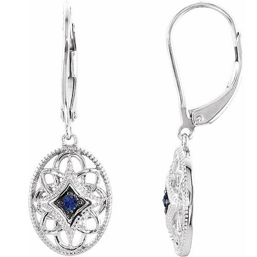 Sterling Silver Blue Sapphire Lever Back Earrings