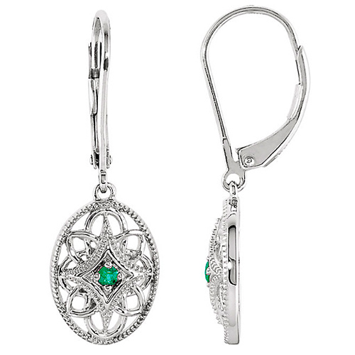 Sterling Silver .06 ct tw Emerald Fiigree Oval Lever Back Earrings