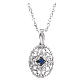Sterling Silver Blue Sapphire Fancy 18in Necklace