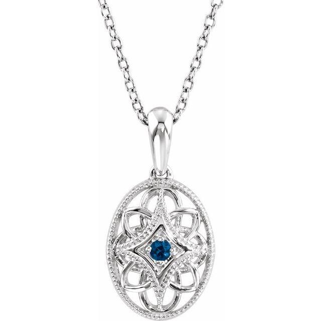 Sterling Silver Blue Sapphire Fancy 18in Necklace