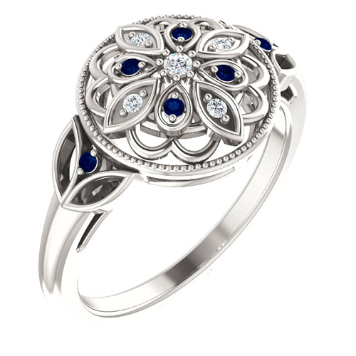 Sterling Silver Blue Sapphire Floral Design Ring with Diamonds