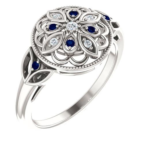 Sterling Silver Sapphire & Diamond Flower Ring