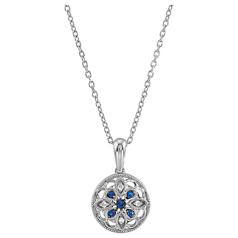 Sterling Silver Blue Sapphire and Diamond 18in Necklace