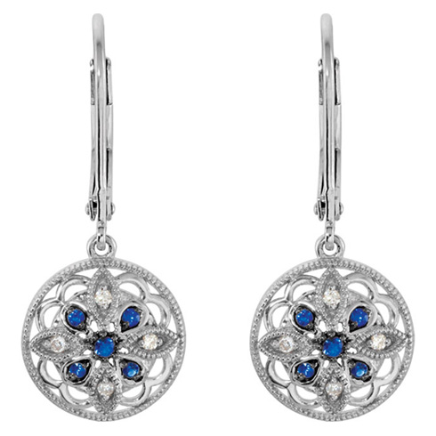 Blue Sapphire and Diamond Lever Back Earrings