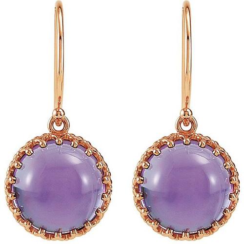14kt Rose Gold Amethyst Cabochon Earrings