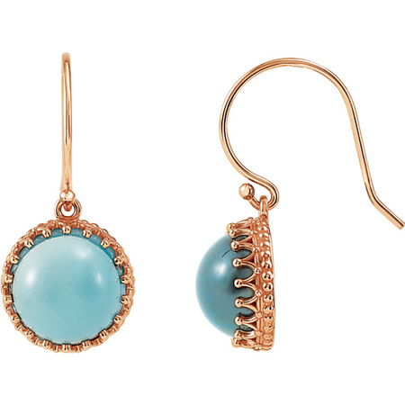14kt Rose Gold London Blue Topaz Cabochon Earrings