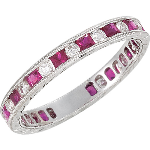 14kt White Gold Ruby Anniversary Band with Diamond Accents Size 7