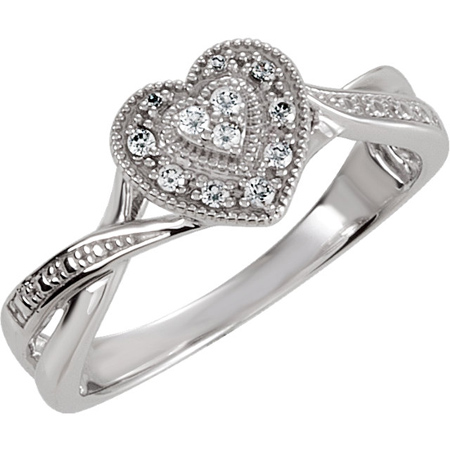 Sterling Silver Heart Cubic Zirconia Bypass Ring