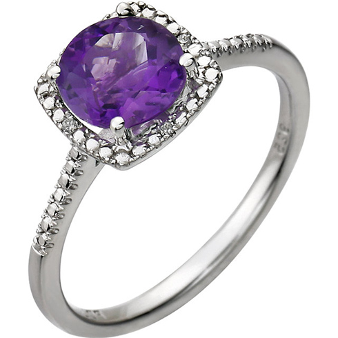 Sterling Silver 7mm Amethyst Ring with Diamonds