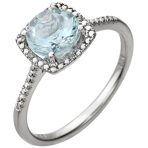Sterling Silver 7mm Aquamarine Ring with Diamonds