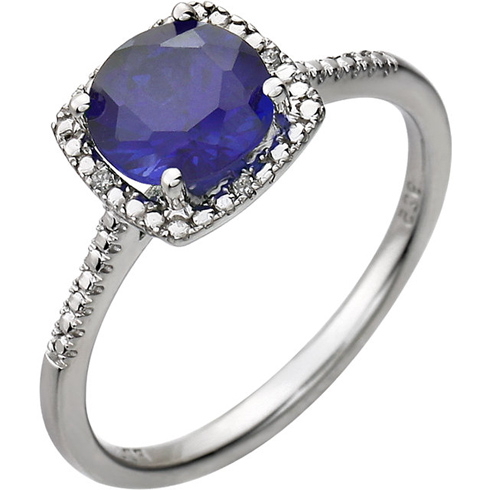 Sterling Silver 7mm Created Sapphire Ring with Diamonds