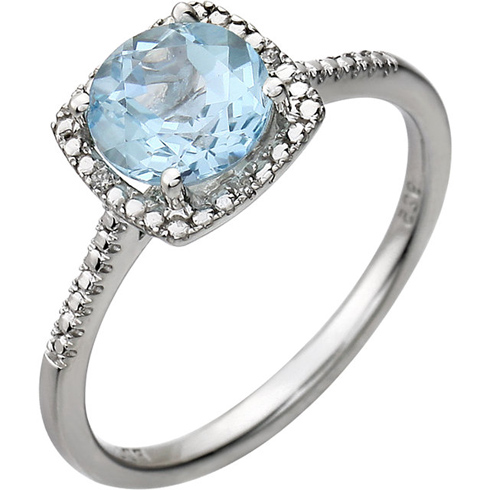 Sterling Silver 7mm Sky Blue Topaz Ring with Diamonds