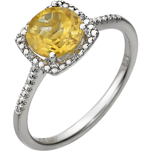 Sterling Silver 7mm Citrine Ring with Diamonds