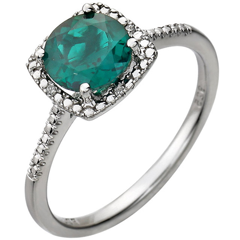 Sterling Silver 7mm Created Emerald Ring with Diamonds