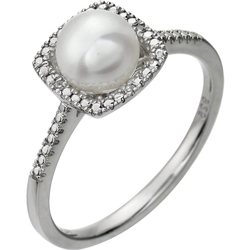 Sterling Silver 7mm Freshwater Cultured Pearl Ring with Diamonds